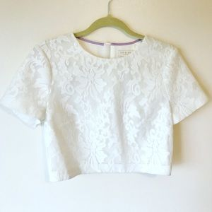 Ted Baker London Lace Mesh Crop Top